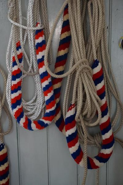 Close up of rope pulls